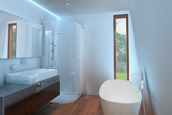 bathroom in the ecokit house with an eco friendly appliances